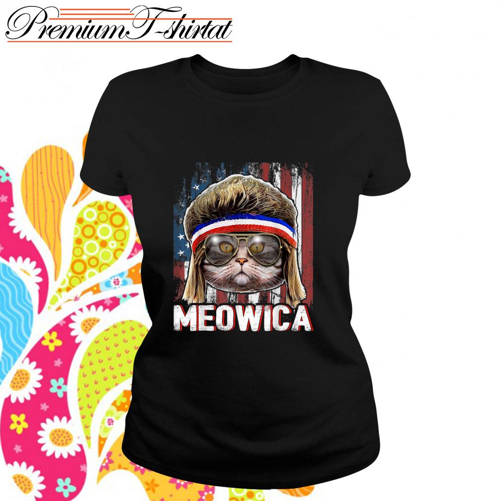 Cat Meowica flag American s ladies-tee