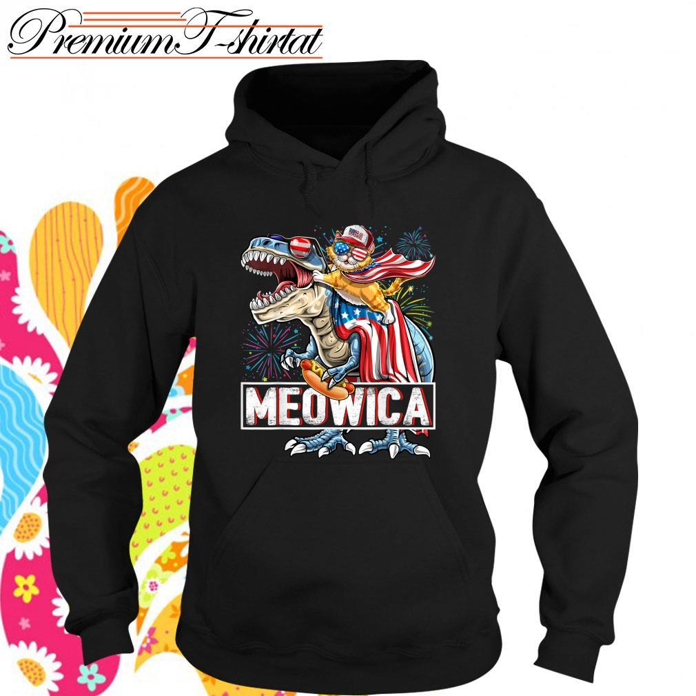 Cat riding T-rex Meowica American s hoodie