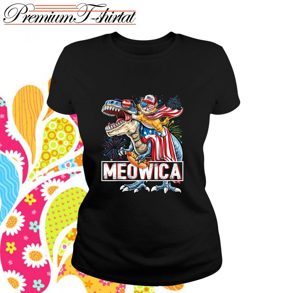 Cat riding T-rex Meowica American s ladies-tee