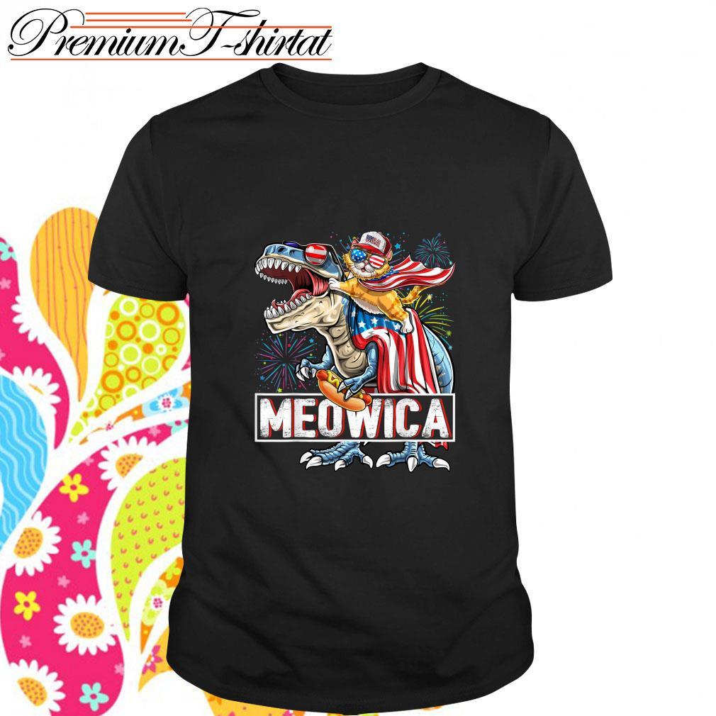 Cat riding T-rex Meowica American shirt