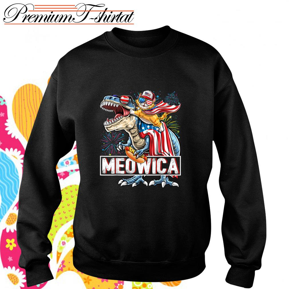 Cat riding T-rex Meowica American s sweater